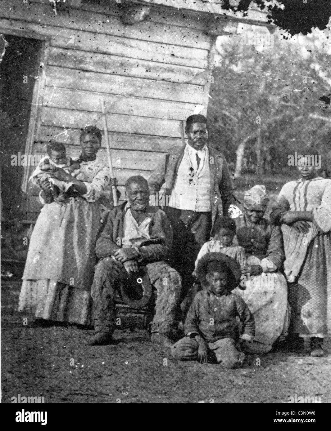 SLAVERY Unidentified family group in southern USA about 1860