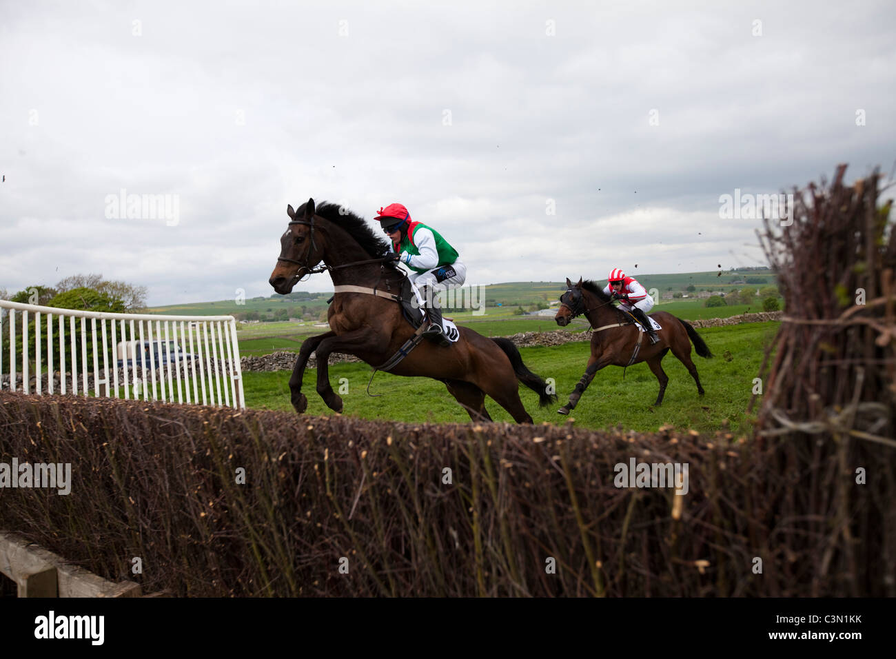 Flagg races point to point held every year on Easter Tuesday in the Peak District Derbyshire England - Stock Image