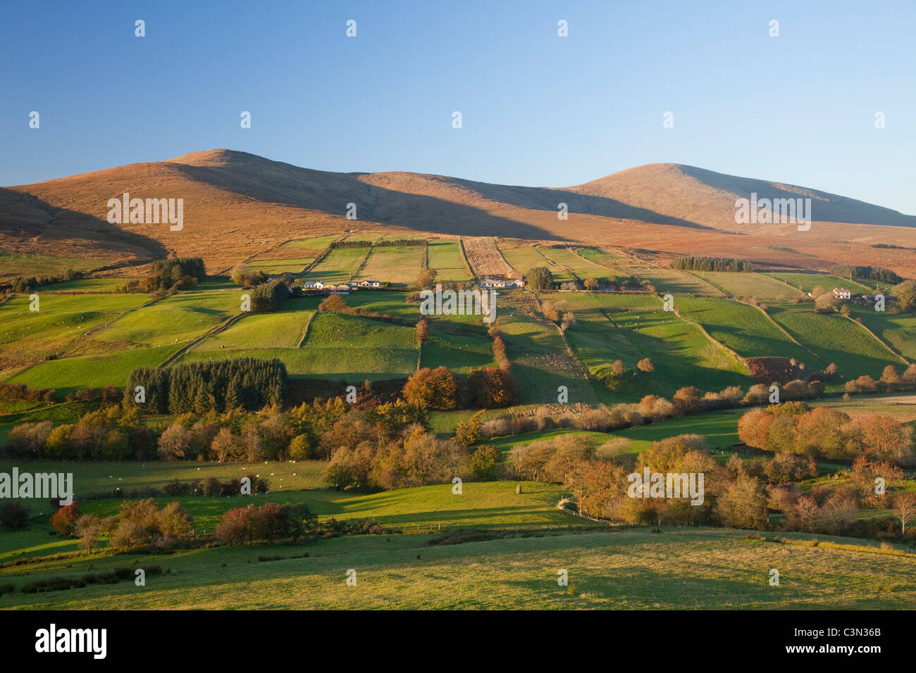 Sawel and Dart mountains rise above Glenelly Valley, Sperrin Mountains, County Tyrone, Northern Ireland. - Stock Image