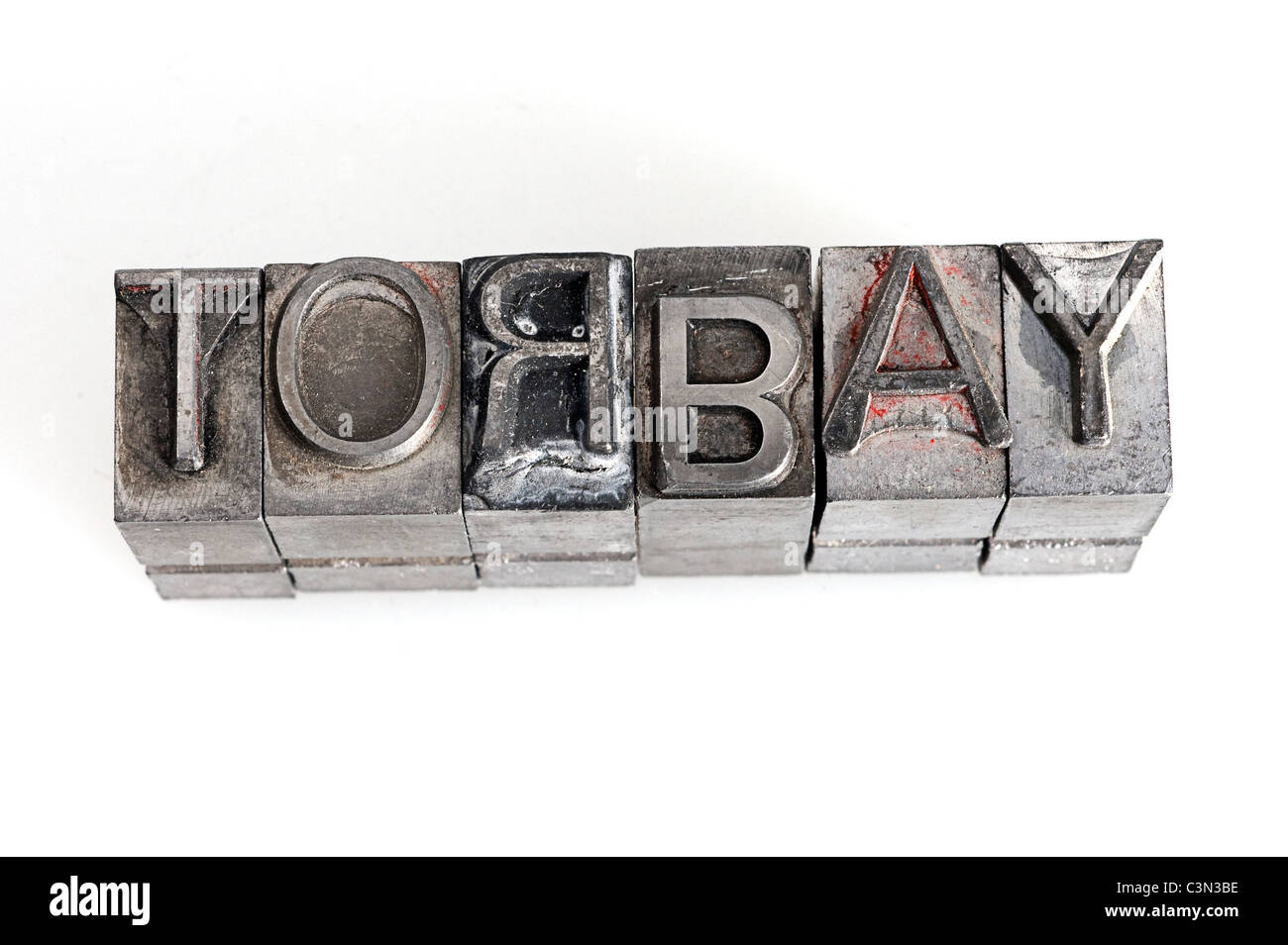 Torbay using type, t, o, r, b, a, y, letter, type, lettering, set, metal, numbers, typeset, writer, typesetting, - Stock Image