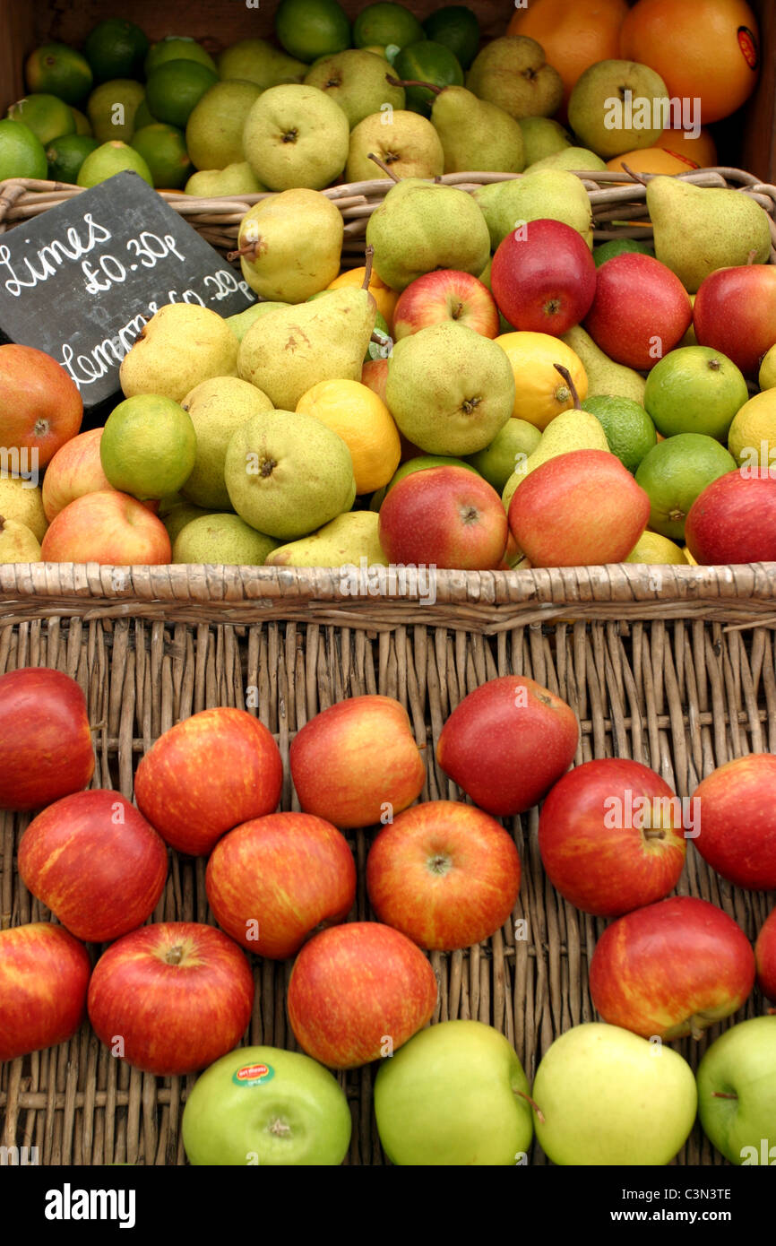 Apples and Pears on Display in a Greengrocer's - Stock Image