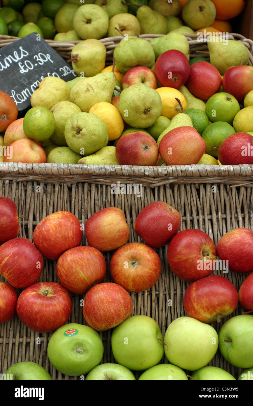 Apples and Pears on Display in a Greengrocer's Stock Photo