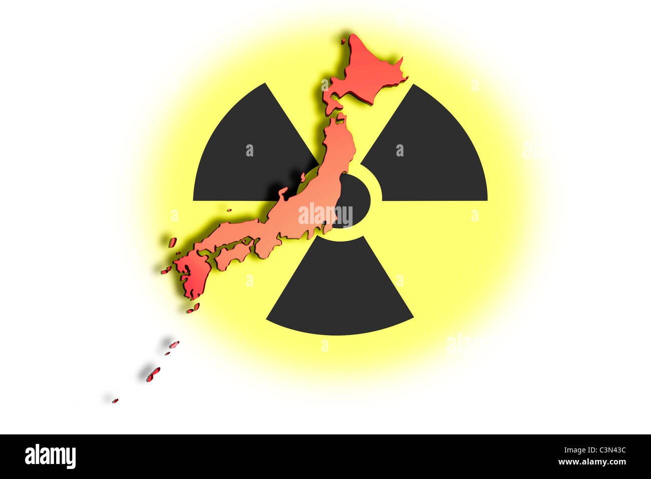 High resolution image with an outline map of Japan on radioactive symbol. Conceptual image about the Fukushima nuclear Stock Photo