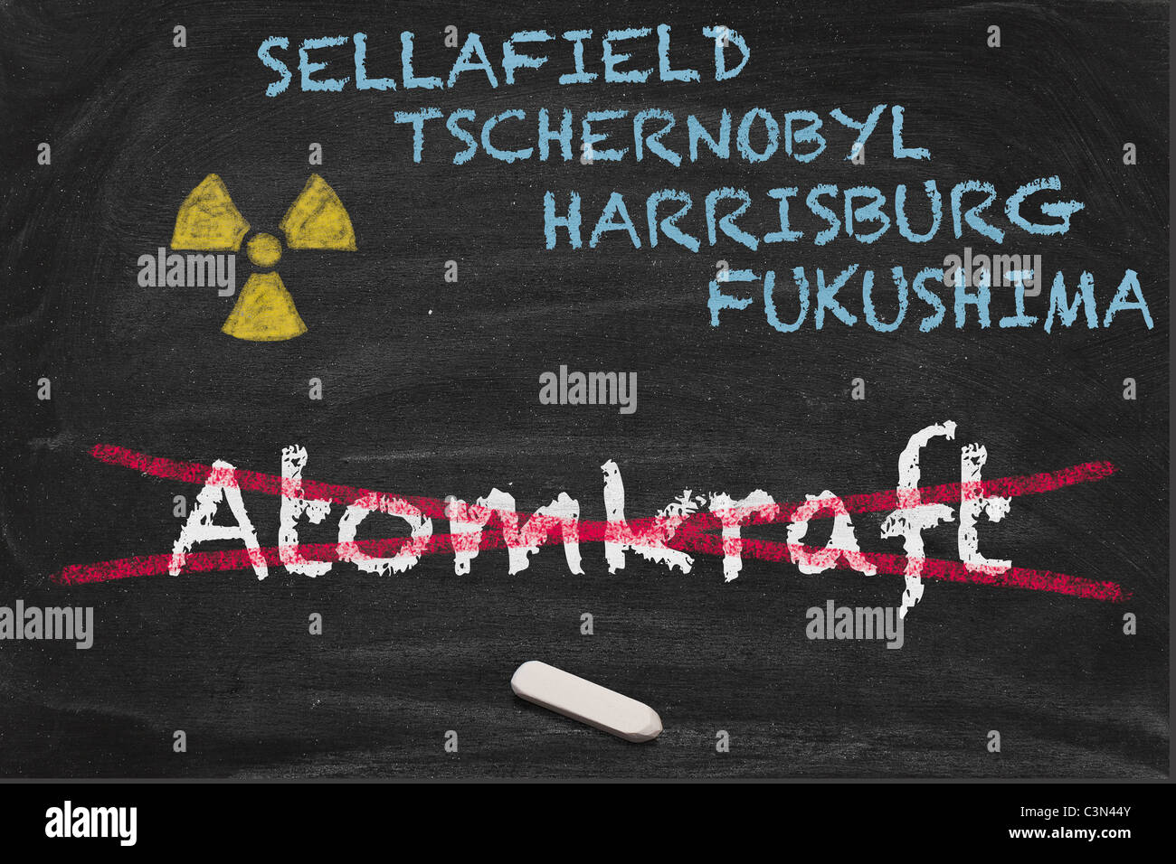 High resolution image with some German chalk lettering around nuclear power. Conceptual image for Nuclear phaseout Stock Photo