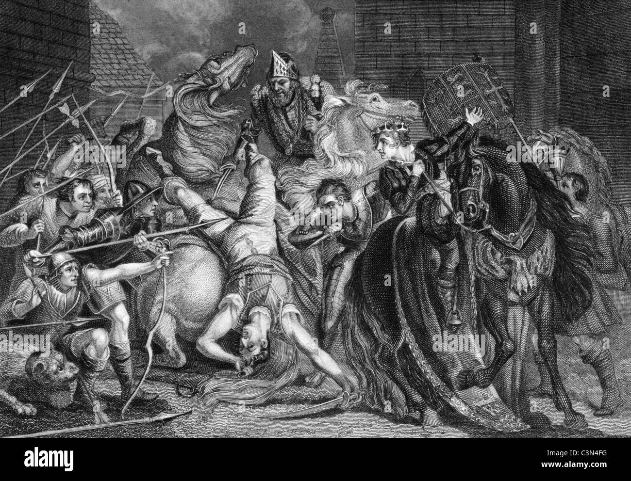 William Walworth Lord Mayor of London Killing Wat Tyler in Smithfiled in 1381 on engraving from the 1800s. - Stock Image
