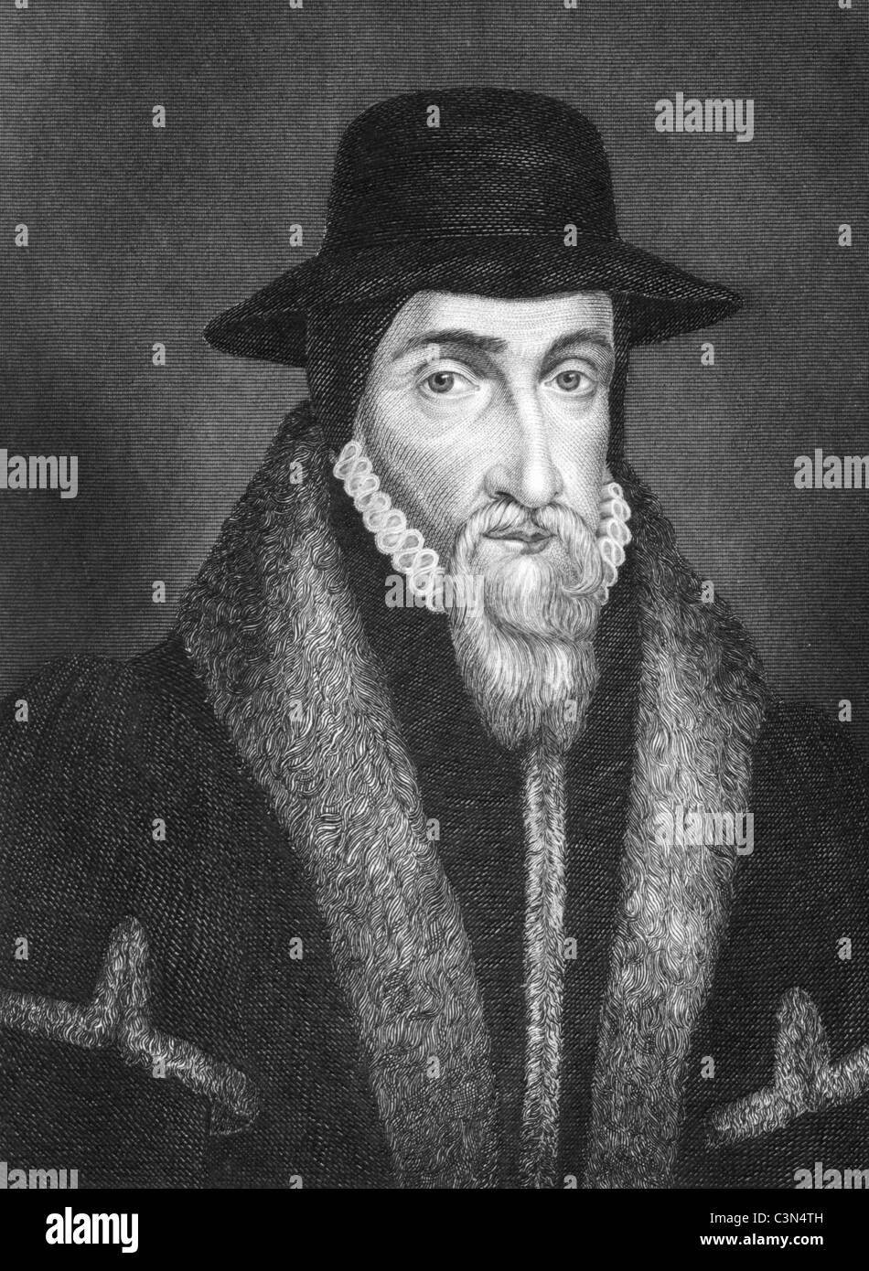 John Foxe (1517-1587) on engraving from 1844. English historian and martyrologist. Published by J.Tallis & Co. - Stock Image