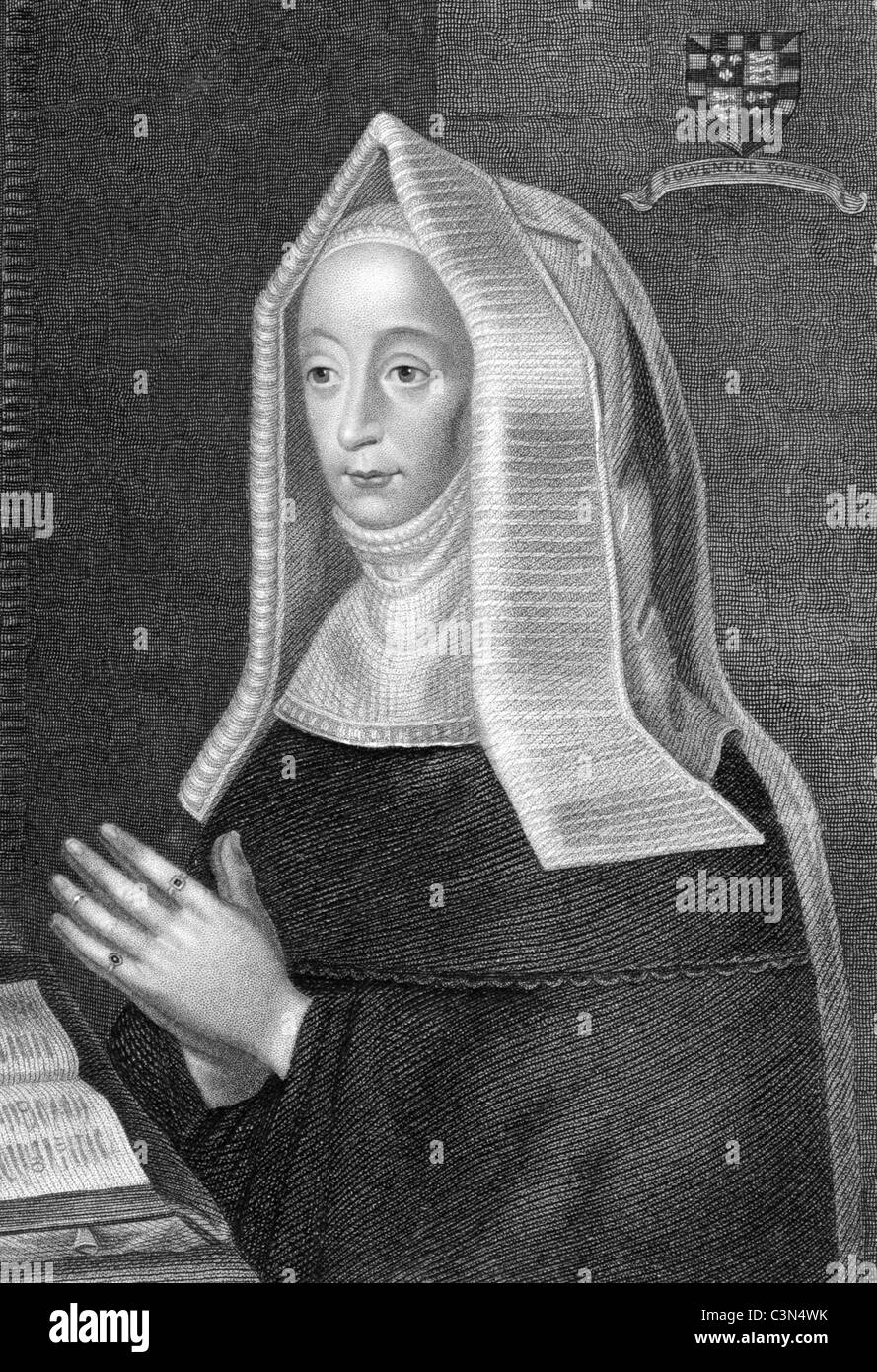 Lady Margaret Beaufort (1441/1443-1509) on engraving from 1838. Mother of King Henry VII and grandmother of King - Stock Image