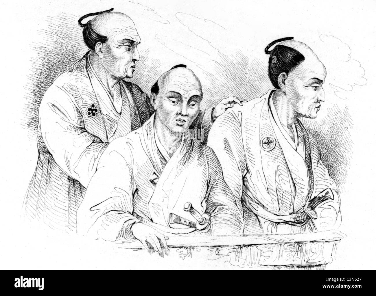 Portraits of Japanese in 19th Century on engraving from 1834. Engraved by Beyer after a drawning by Louis Auguste - Stock Image