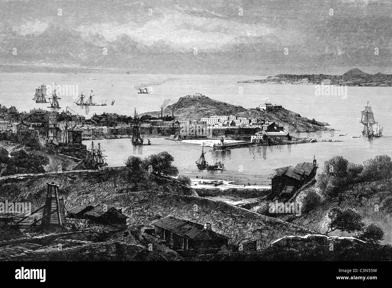 Saint Ives Yorkshire England on engraving from 1888. - Stock Image
