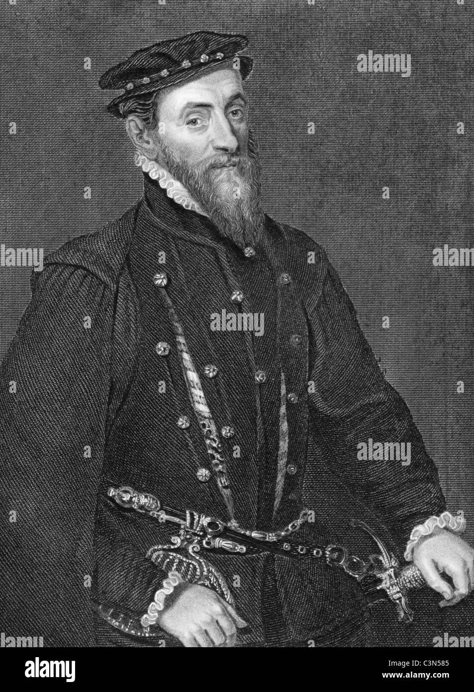 Thomas Gresham (1519-1579) on engraving from 1838. English merchant and financier. - Stock Image