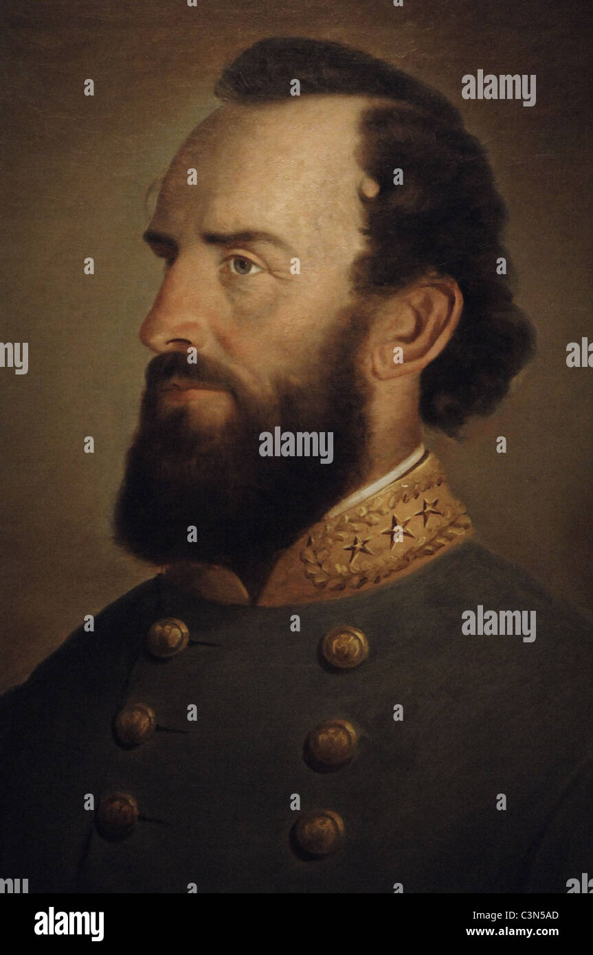 Stonewall Jackson (1824-1863). American military. Portrait (1864) by J.W. King. - Stock Image