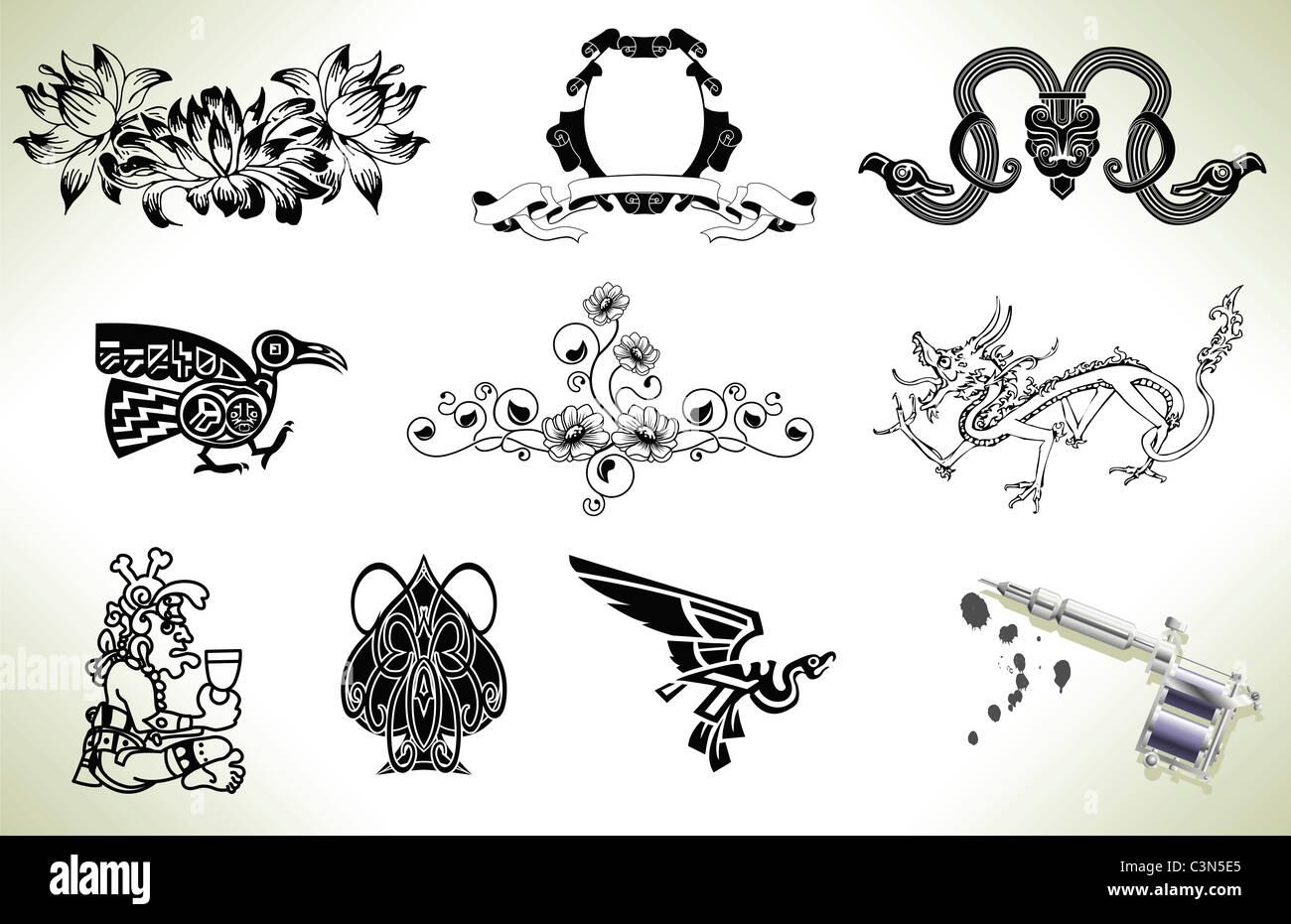 Series Set Of Tattoo Flash Design Elements With Tattooists Gun Or