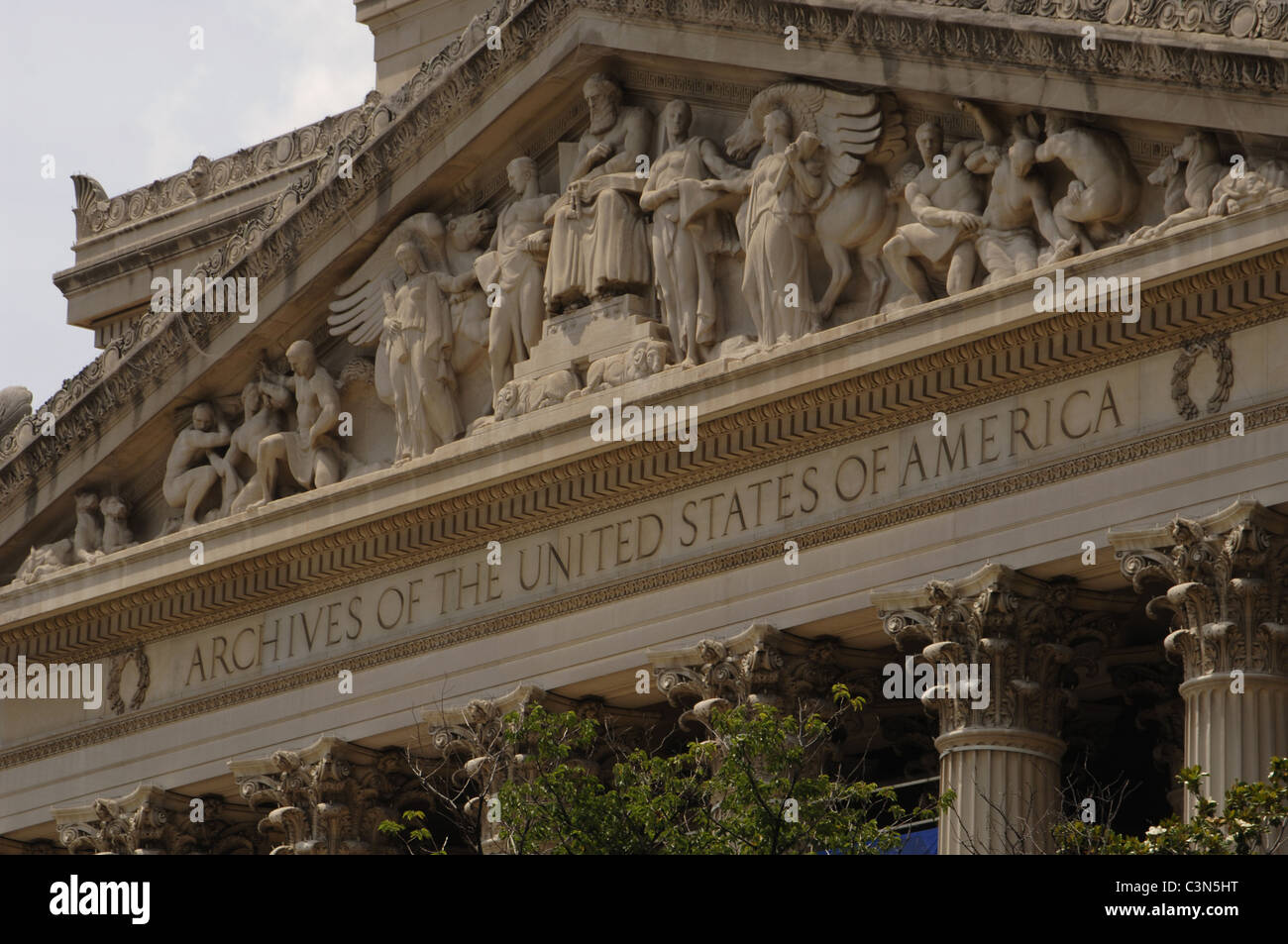 National Archives Building. Exterior detail. Washington D.C. United States. - Stock Image