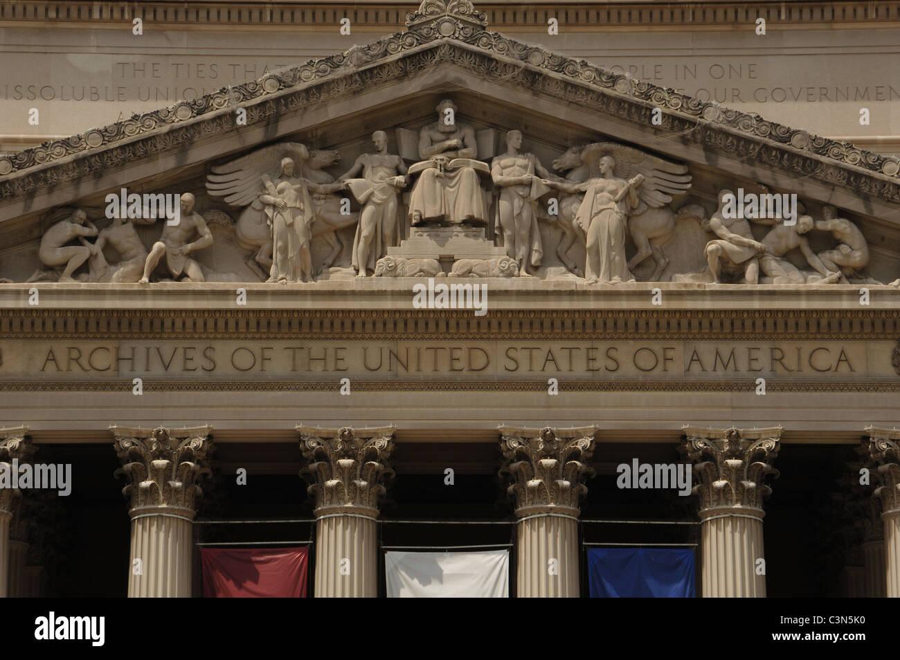 National Archives Building. Exterior. Washington D.C. United States. - Stock Image