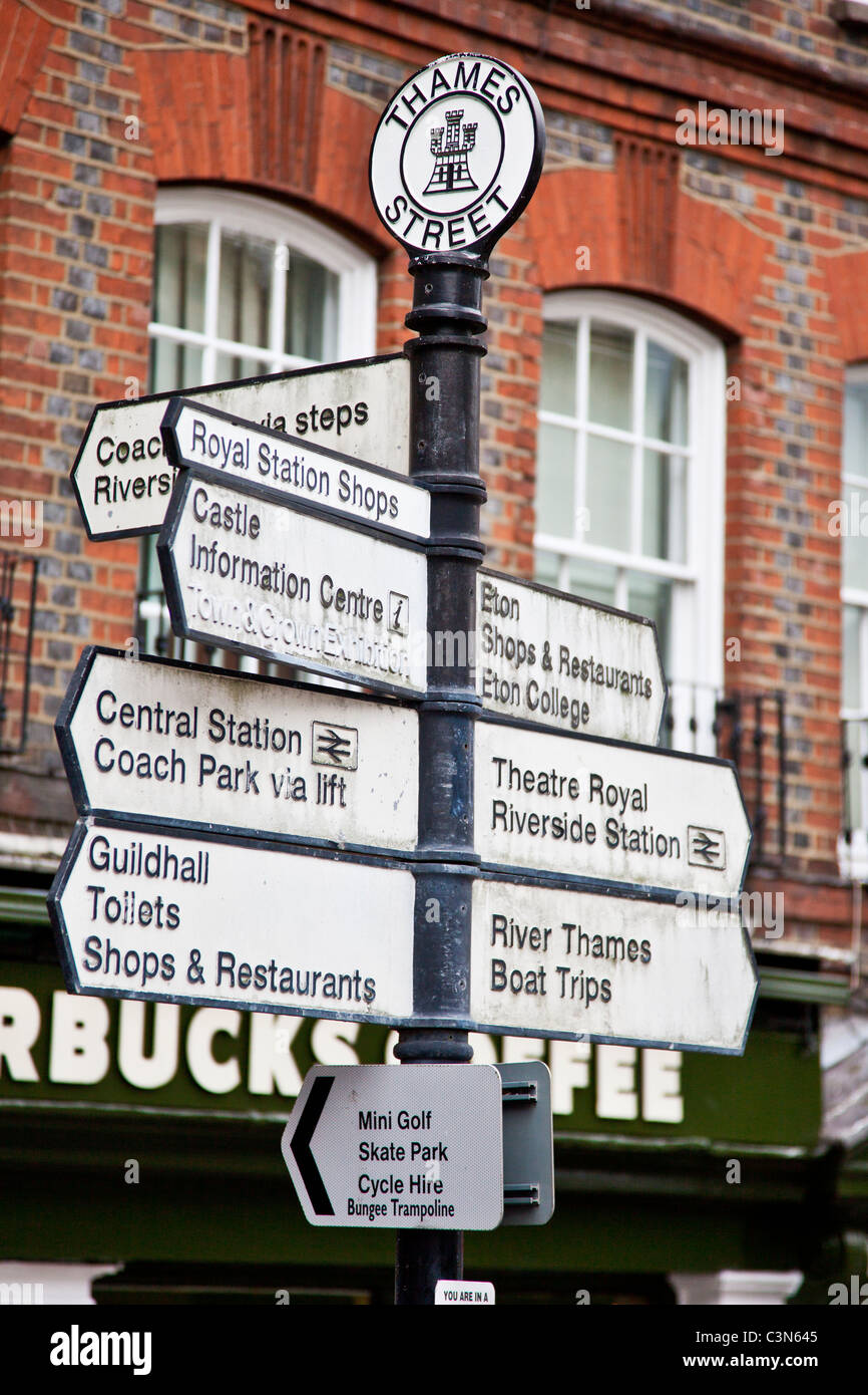 A signpost showing the way to various tourist attractions in Windsor, Berkshire, England, UK - Stock Image