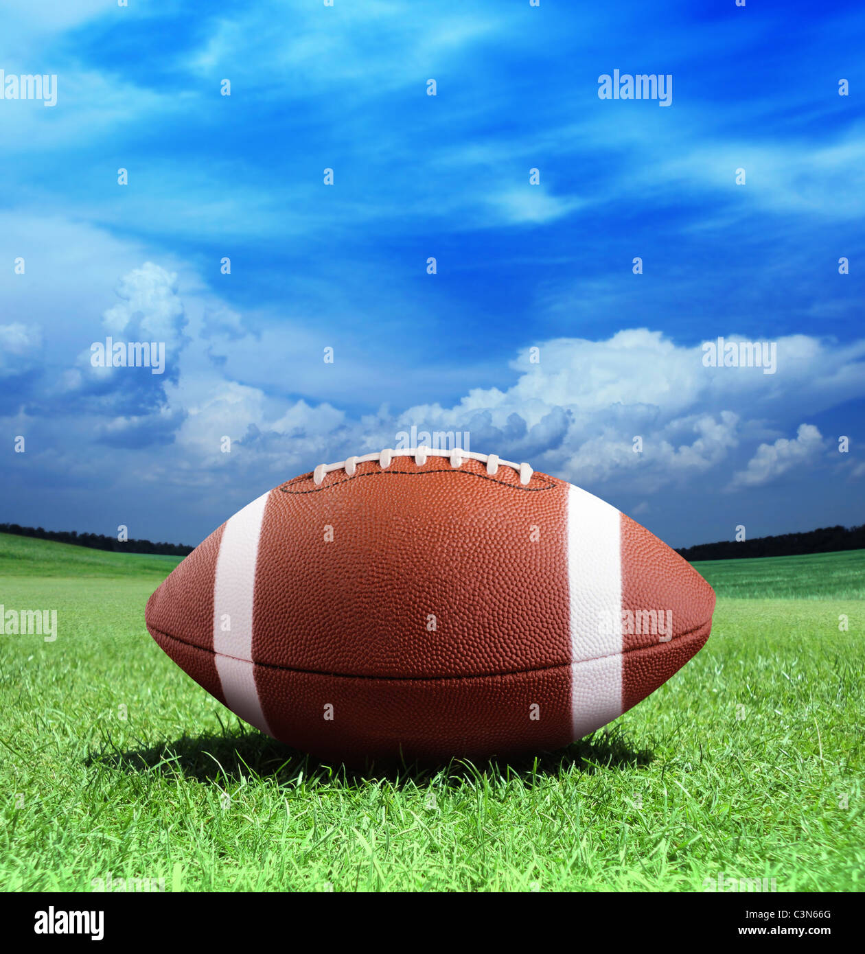 football on arena near the 50 yard line - Stock Image