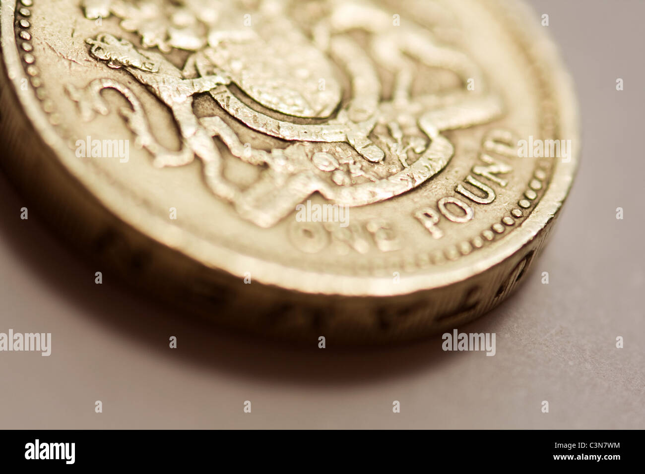 Close up of a British Sterling One Pound Coin - Stock Image