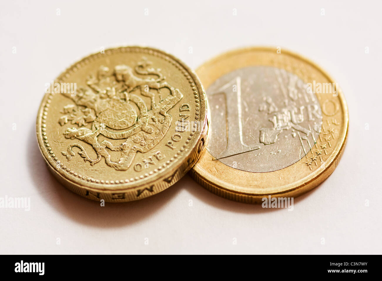 One Pound Coin with a One Euro Coin - Stock Image