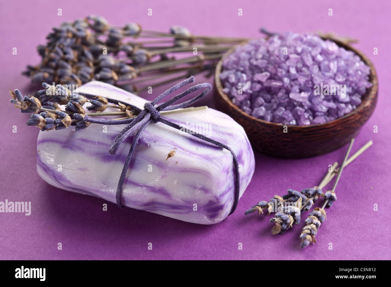 Soap with sea-salt and dried lavender. - Stock Image