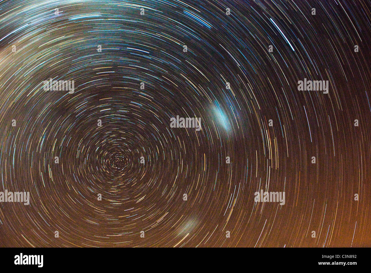 South Africa, Western Cape, Montagu, Simonskloof Mountain Retreat. Night shot of moving stars. Long exposure. - Stock Image