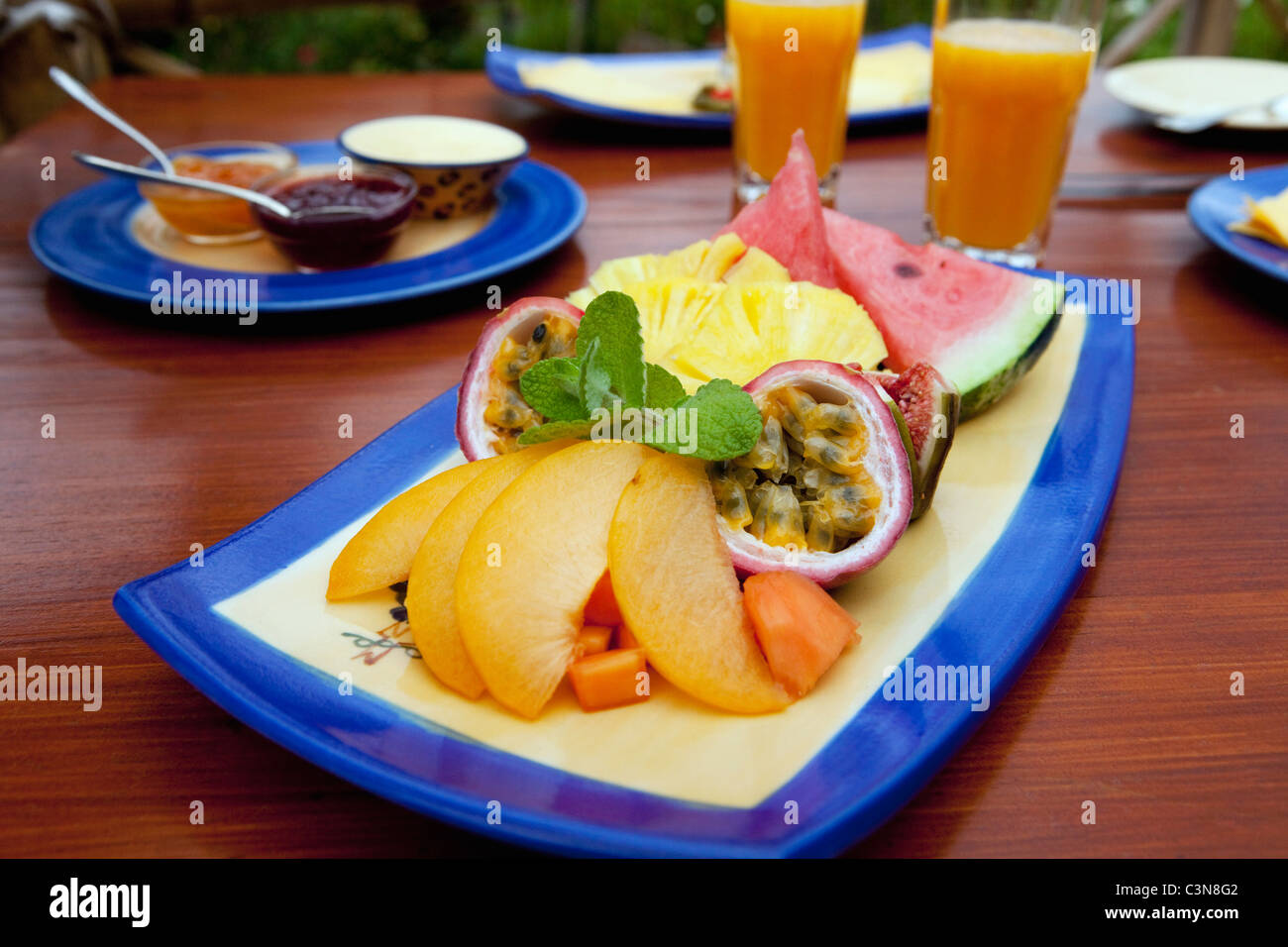 South Africa, Western Cape, Robertson Wine Valley. Guesthouse, restaurant and winery Fraai Uitzicht. Breakfast. Stock Photo