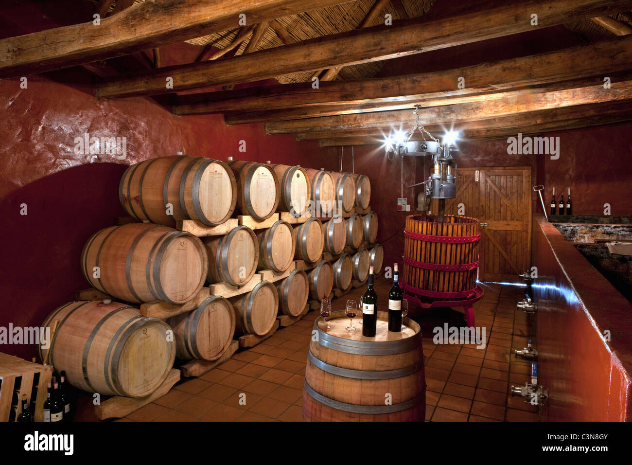 South Africa, Western Cape, Robertson Wine Valley. Guesthouse, restaurant and winery Fraai Uitzicht. Wine cellar. Stock Photo