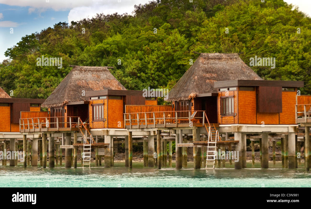 Likuliku Lagoon Resort, Overwater Bures at Five Star Resort, Malolo Island, Mamanucas, Fiji - Stock Image