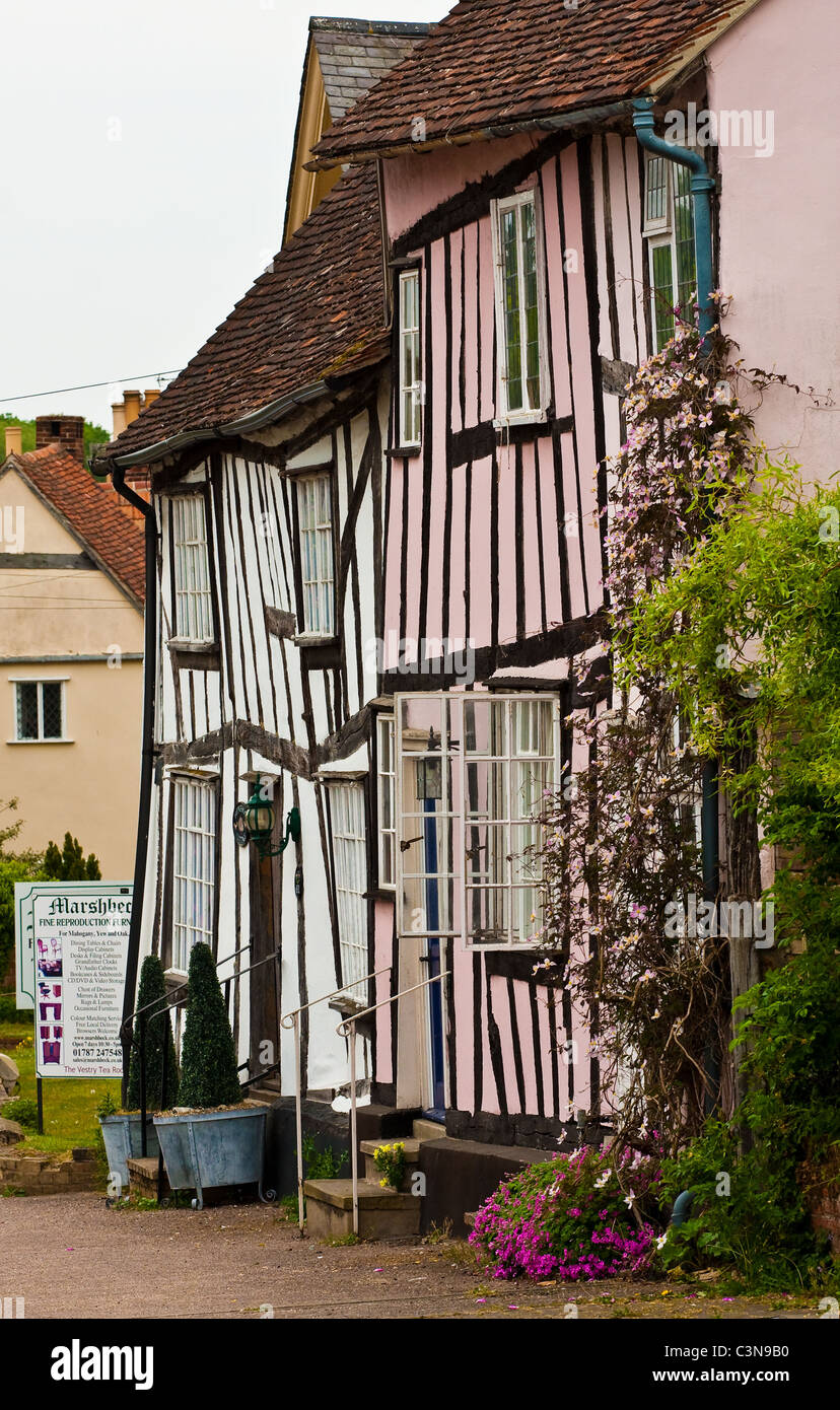 Medieval houses in Lavenham - Stock Image