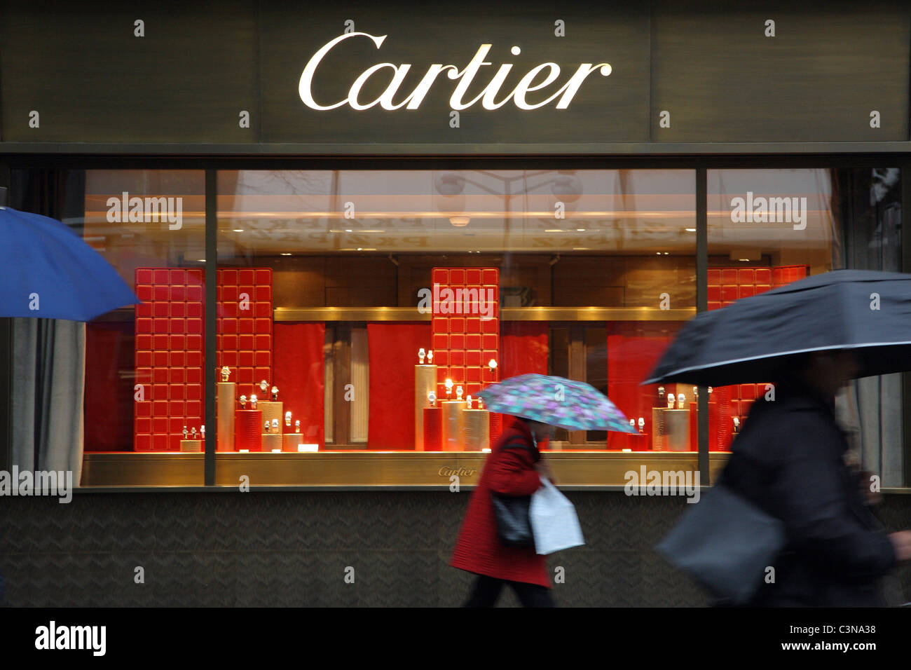 A showcase in the Bahnhofstrasse, Zurich, Switzerland - Stock Image