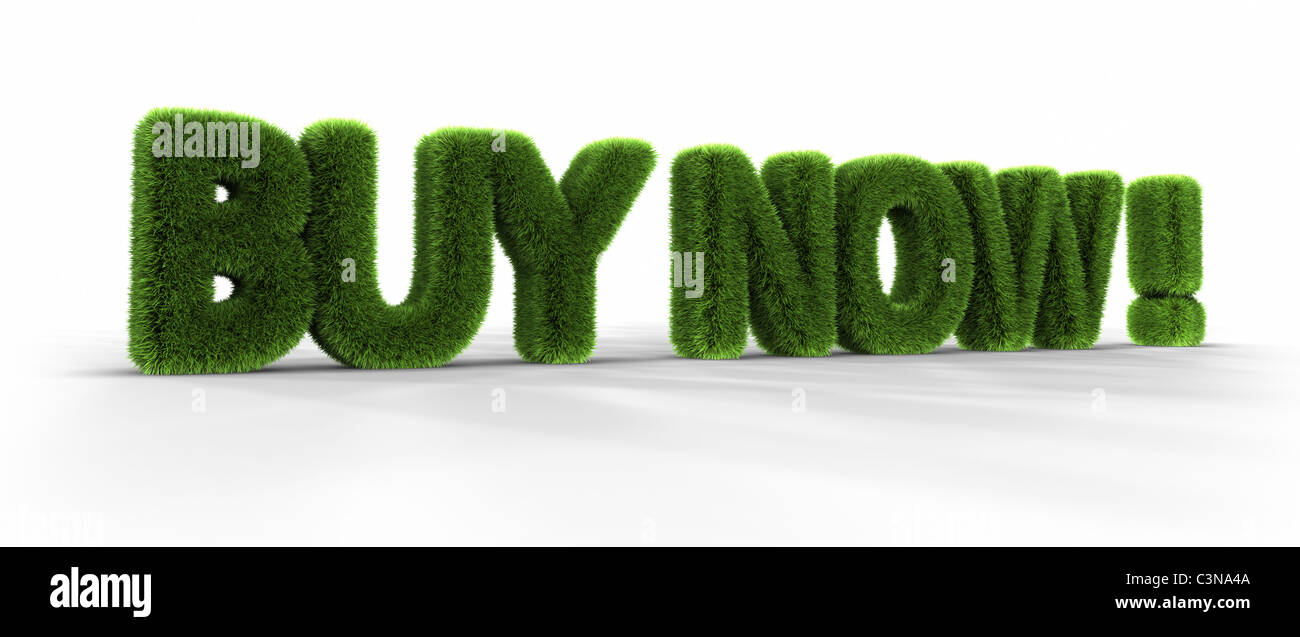 Grass words, buy now, isolated on white background, 3D render Stock Photo