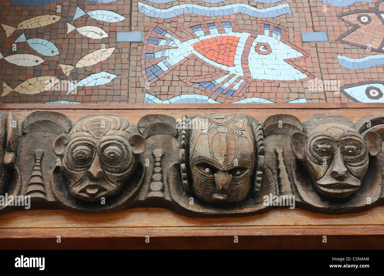 Detail on National Parliament House in Port Moresby PNG - Stock Image