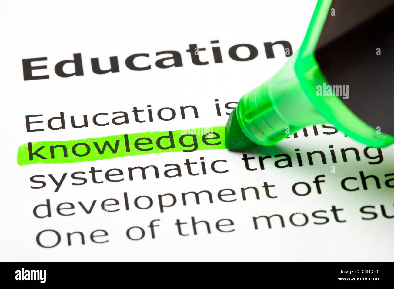 'Knowledge' highlighted in green, under the heading 'Education' - Stock Image