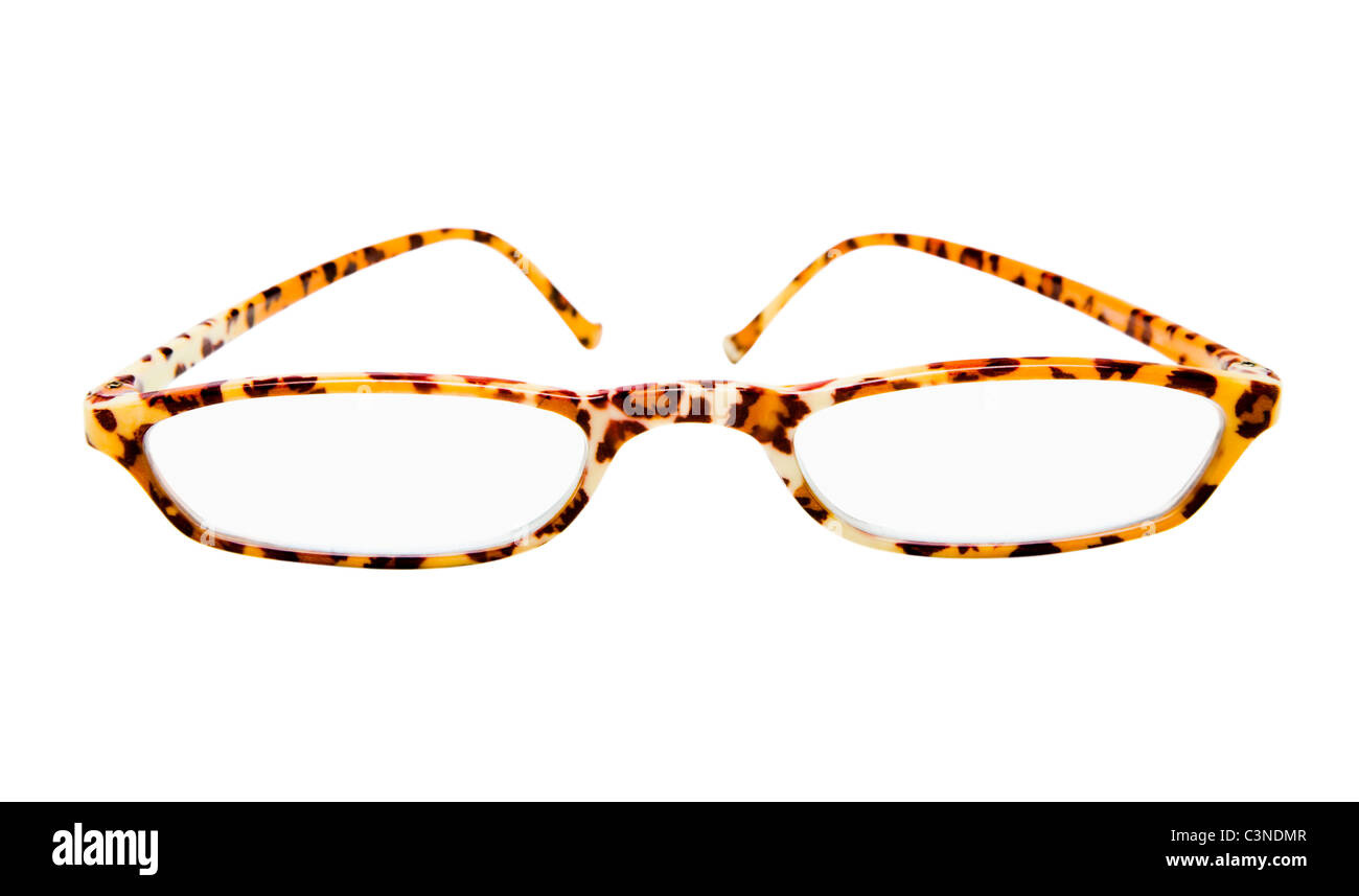 Pattern on eyeglasses isolated over white - Stock Image