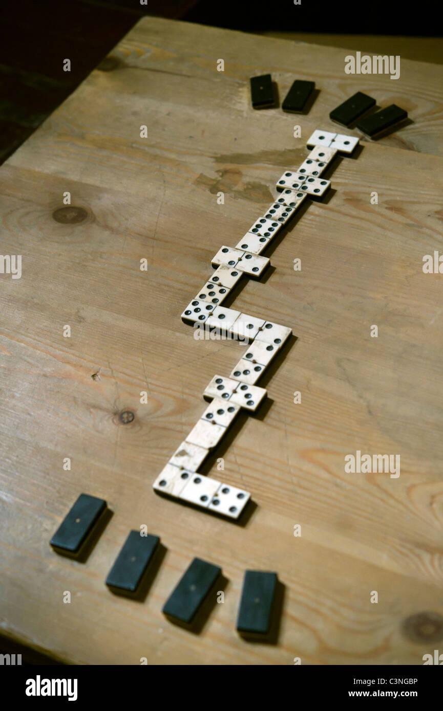 Domino board game on a table in prison museum of Edinburgh Castle - Stock Image