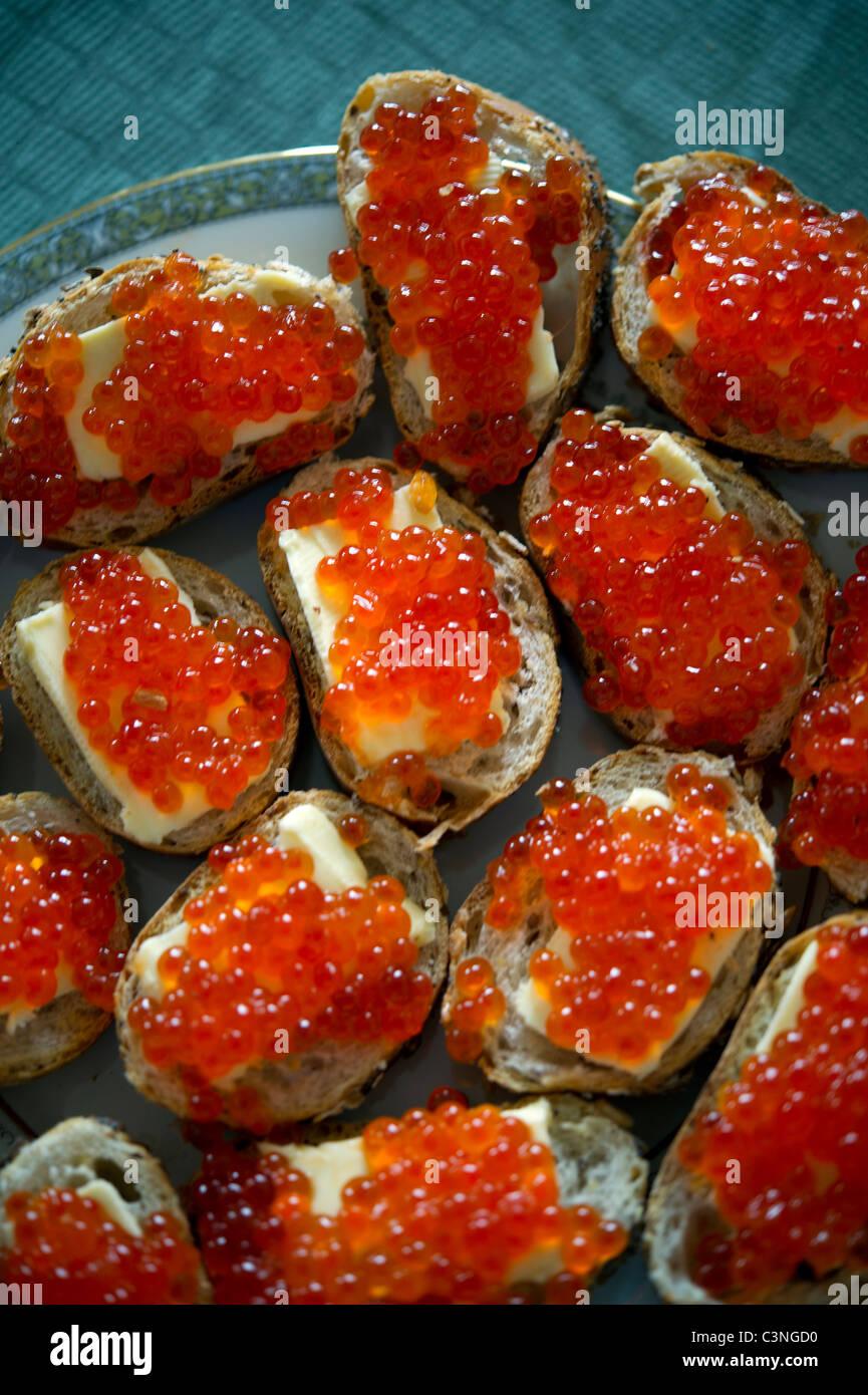 Red caviar sandwich Stock Photo