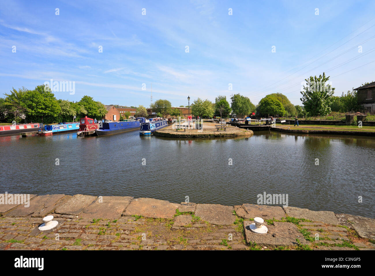 Canal Basin on the Calder & Hebble Navigation in Brighouse, West Yorkshire, England, UK. - Stock Image