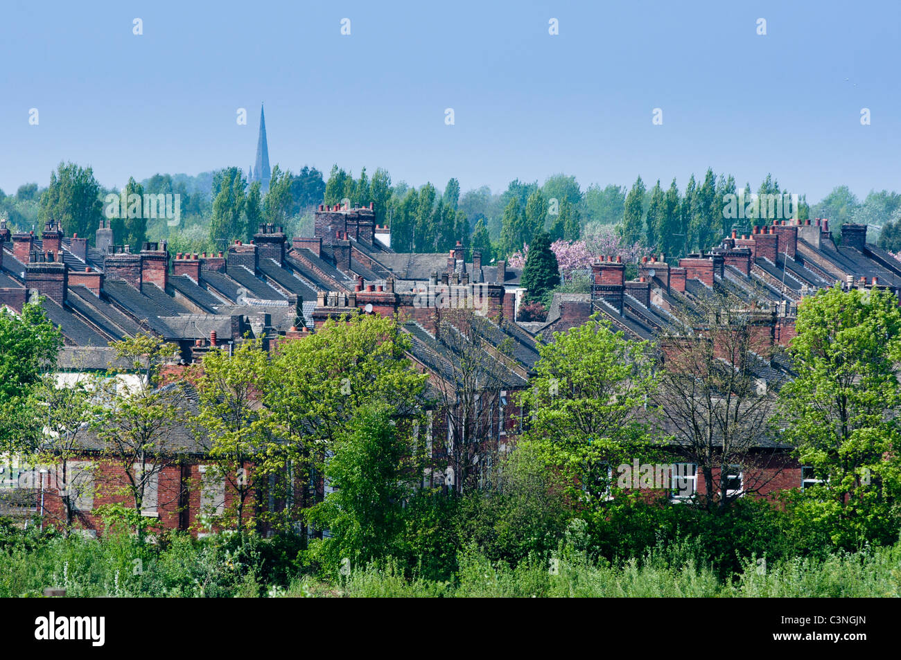 Terraces of houses near the city centre of Stoke on Trent, Staffordshire, UK - Stock Image
