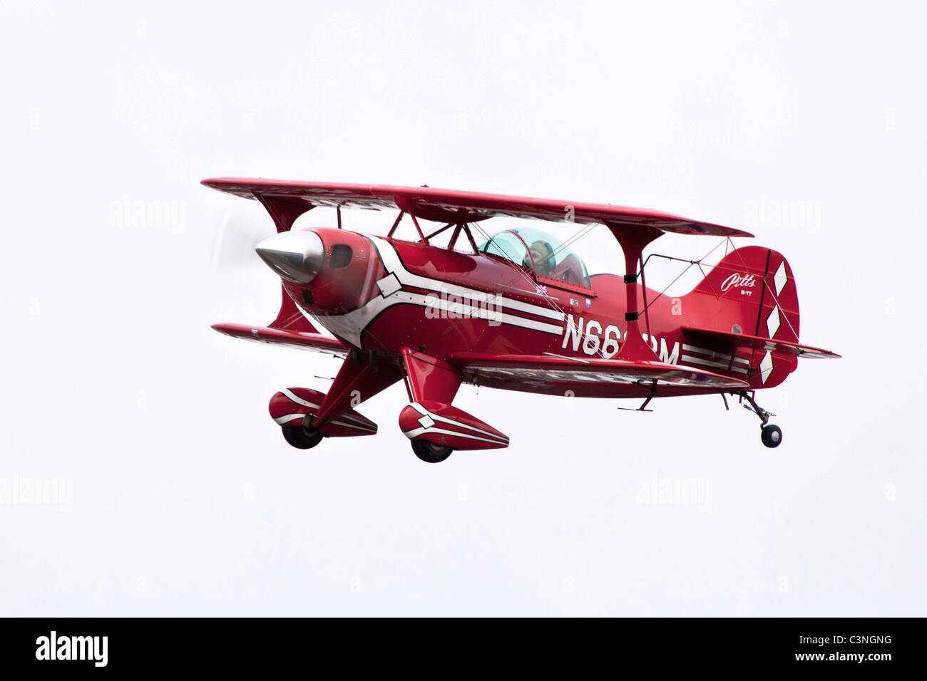 Pitts S1-T Special N666BM in flight at Sandtoft Airfield - Stock Image