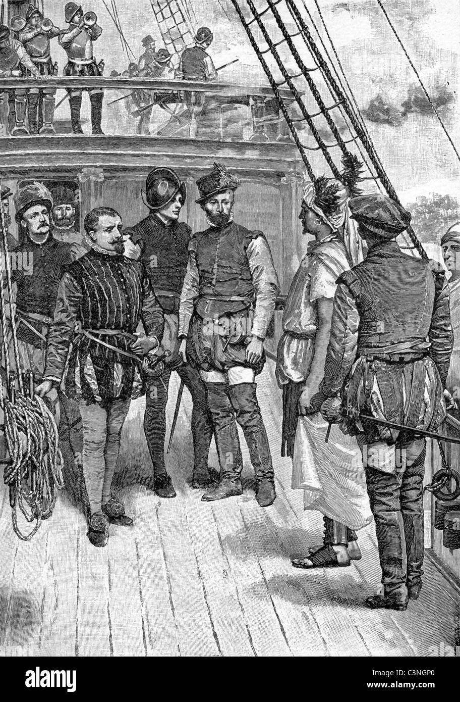 Vasco da Gama (left with no helmet) receives a messenger (standing facing him at right) from the king of Calcutta, - Stock Image