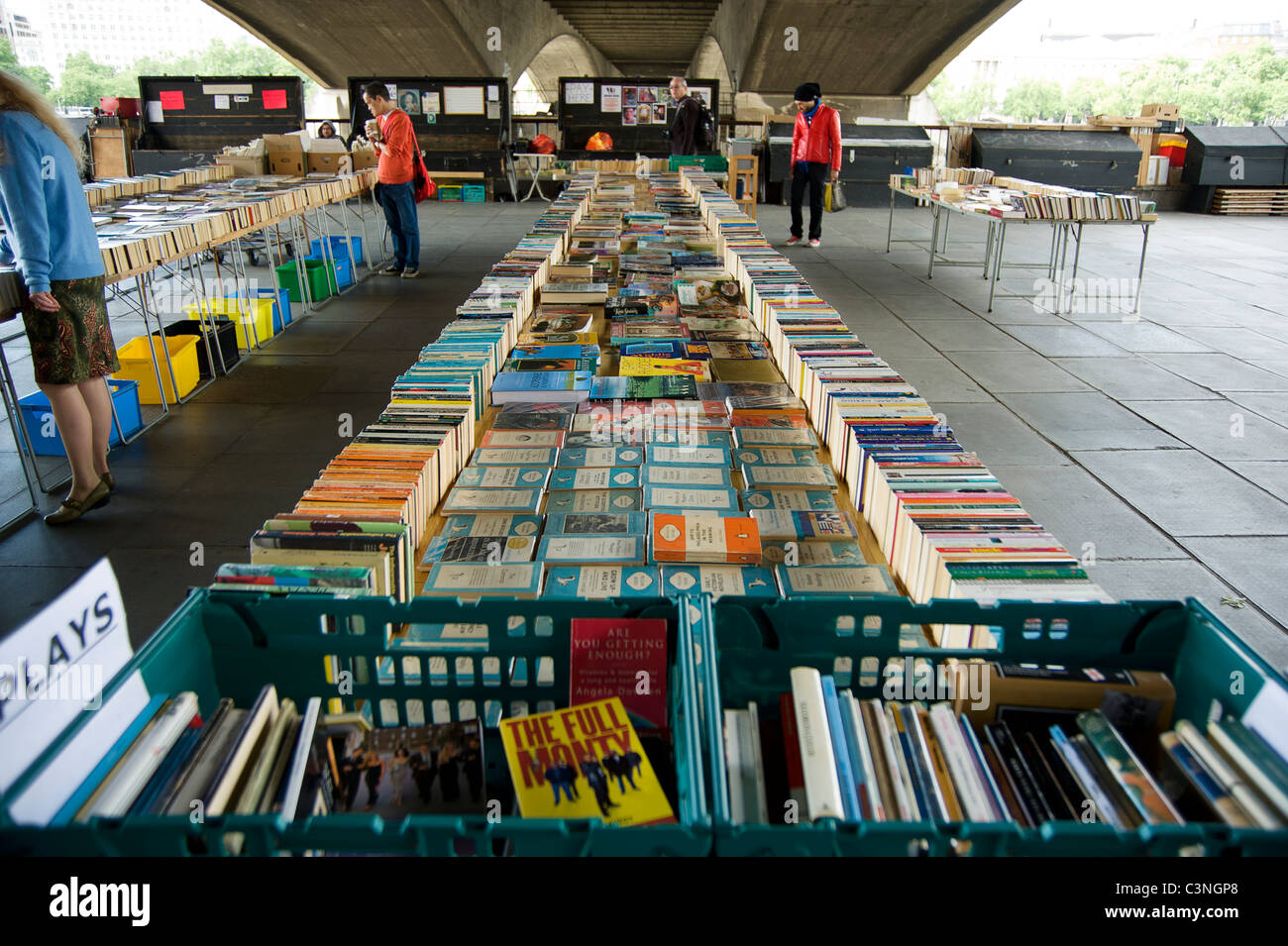 Southbank Centre's secondhand Book Market under Waterloo Bridge Stock Photo