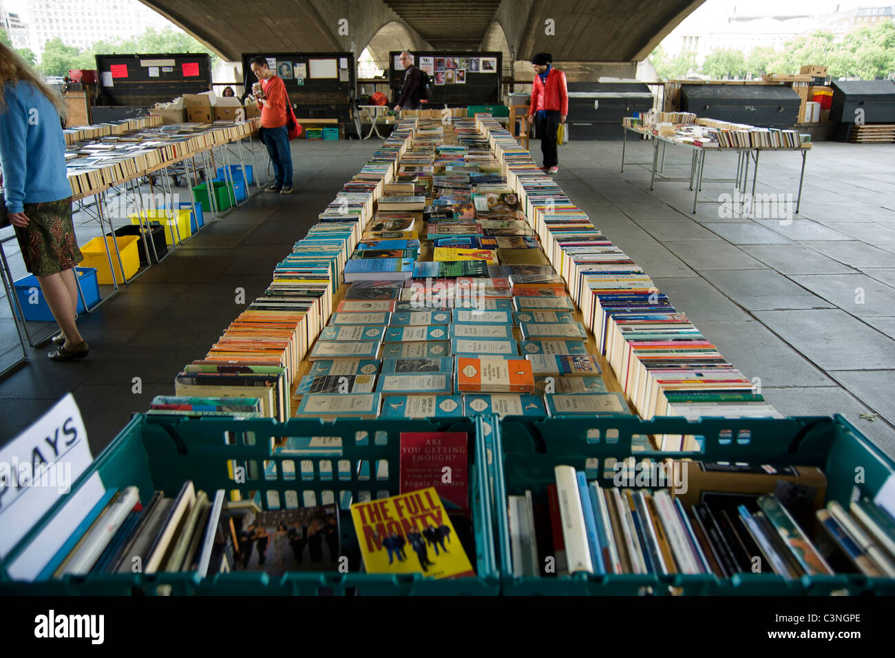 Southbank Centre's secondhand Book Market under Waterloo Bridge - Stock Image