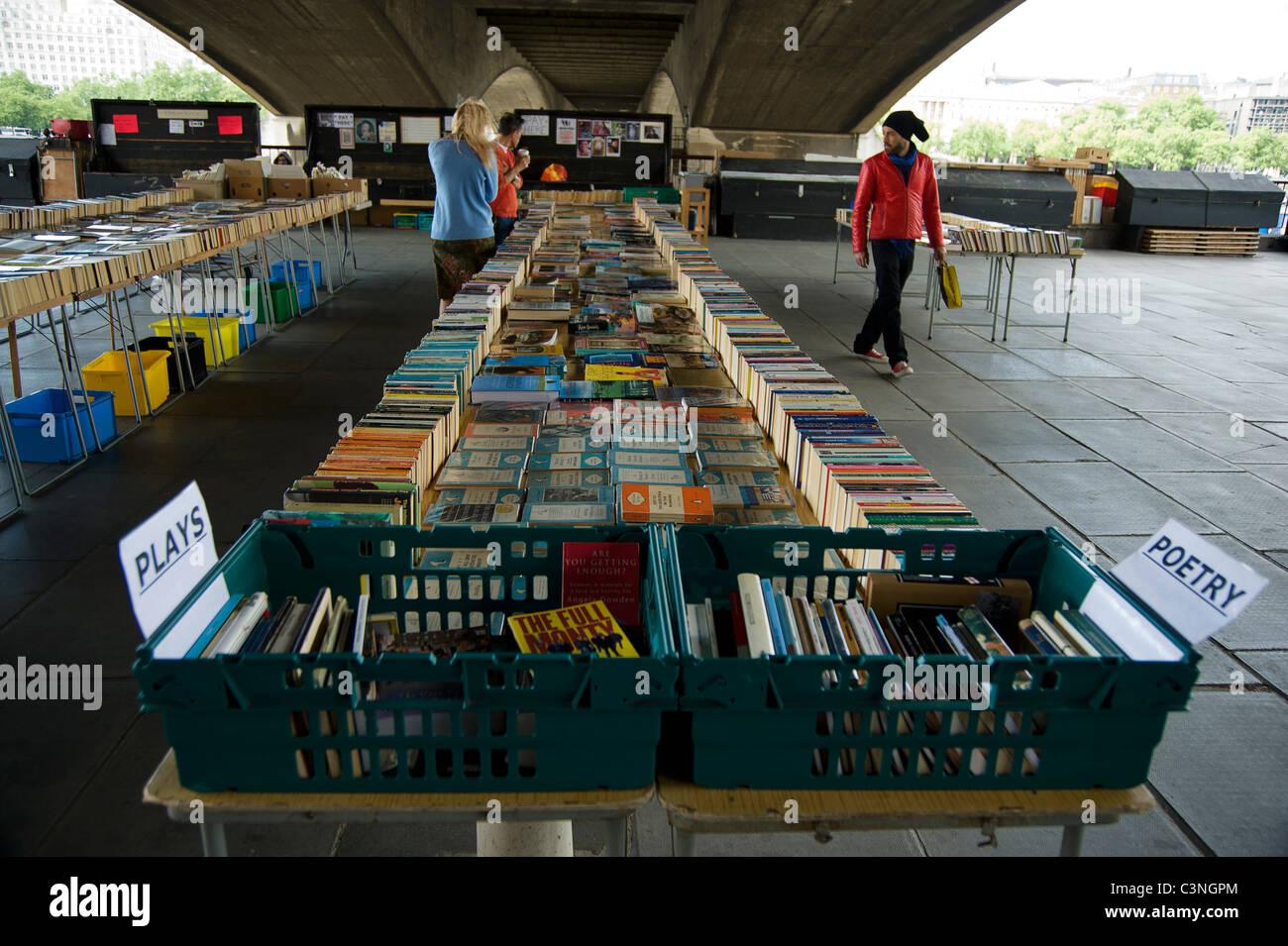 Southbank Centre's secondhand Book Market under Waterloo Bridge - Stock Image