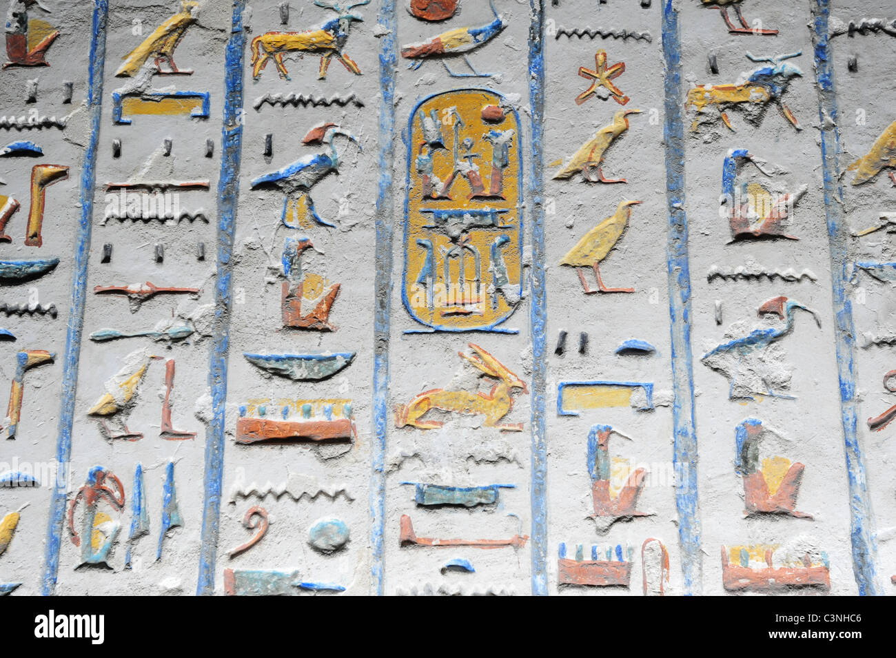 Africa Middle East Egypt Egyptian Tomb of Ramses IV  Valley of the Kings hieroglyphs painted and carved on the walls - Stock Image