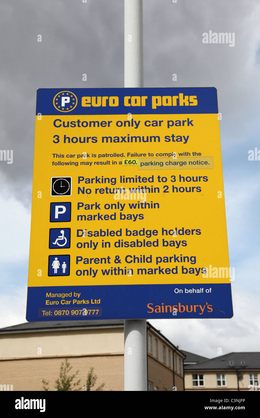 A Euro Car Parks Sign In A U K Supermarket Car Park Stock Photo