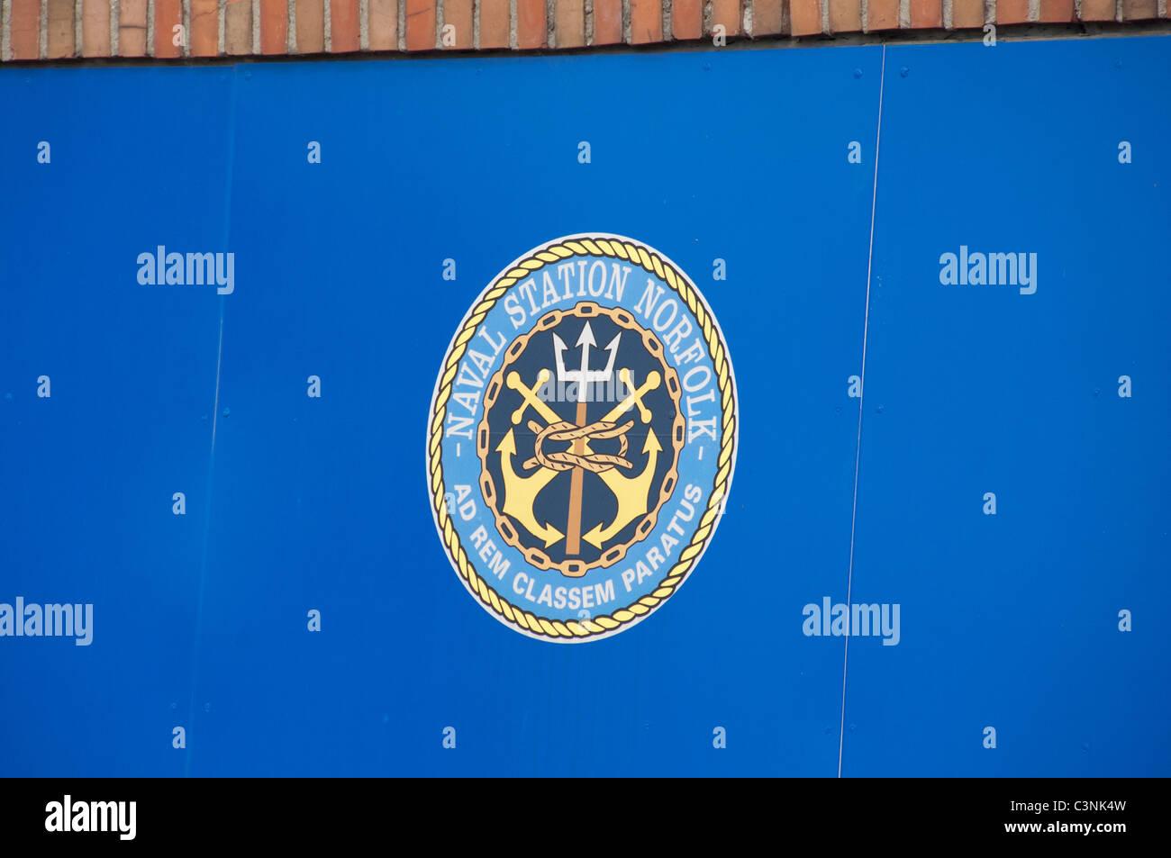 Virginia, Norfolk. Norfolk Naval Station sign. - Stock Image