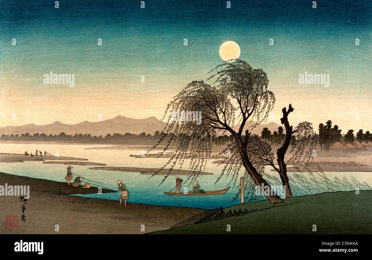 Japanese woodcut shows a moonlight scene along a river with people fishing, in boats, and walking along the shore, Stock Photo