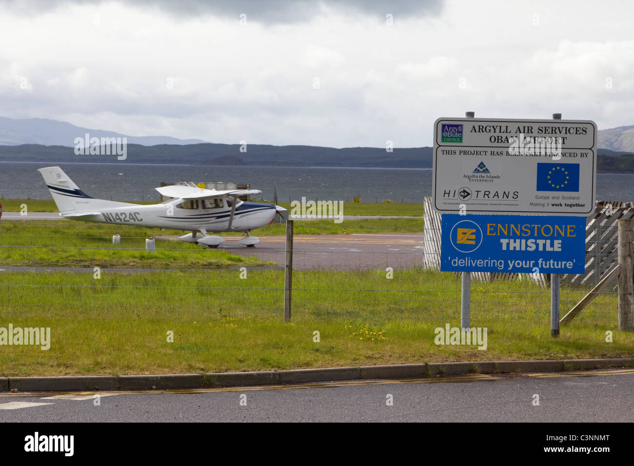 Oban Airport  is located  northeast of Oban, near the village of North Connel, Argyll and Bute, Scotland. Stock Photo