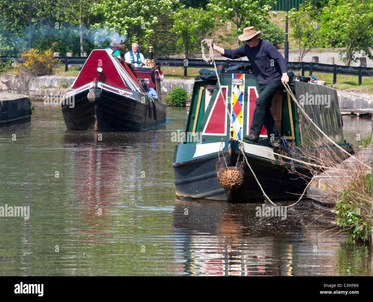 Boats on Stoke on Trent canal near Middleport pottery factory, Staffs. UK - Stock Image