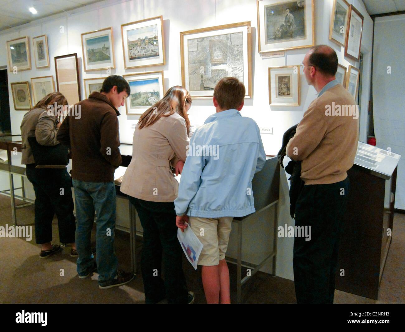 "Paris, France, Family Visiting Historical Exhibit, in ""Musee de la Prefecture de Paris"", Police Museum, Stock Photo"