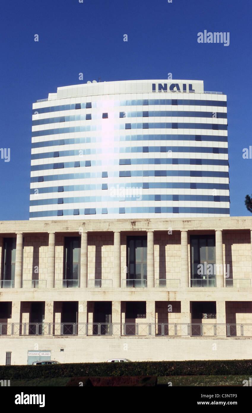 Archivio centrale dello Stato and INAIL building, EUR, Rome - Stock Image